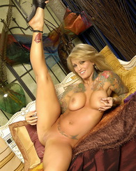 The amazing Janine Lindemulder is looking sexy as ever in this hot dress, doing a naughty strip tease.